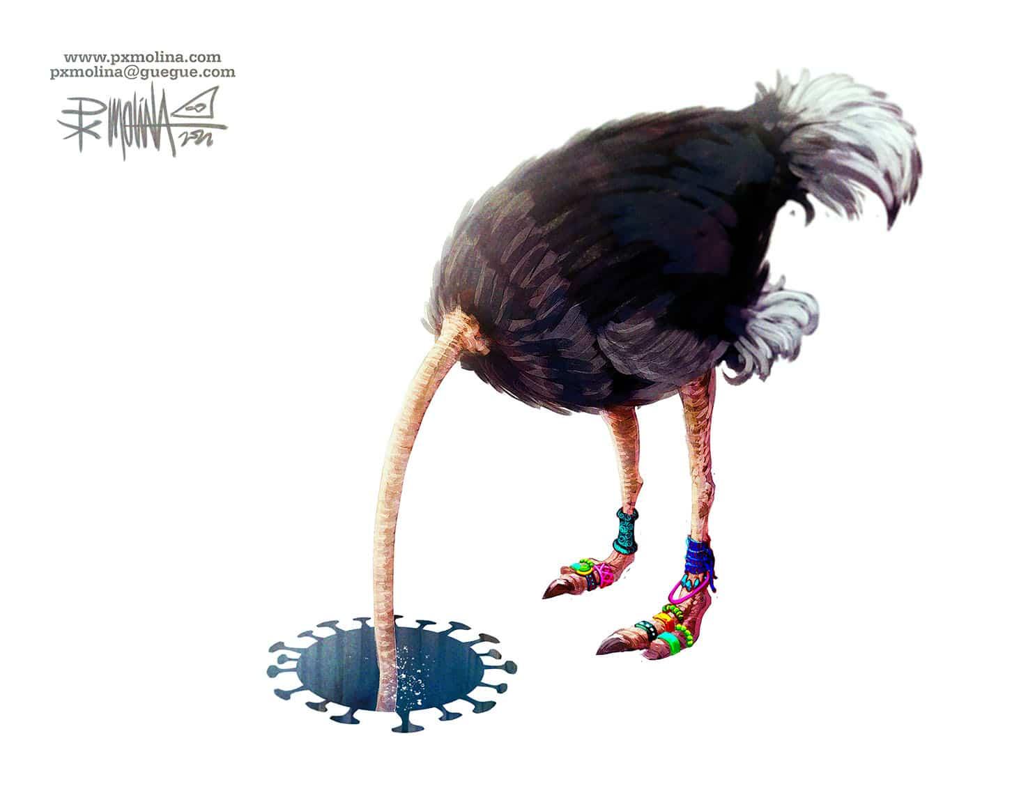 Caricatura del día |  La dictadura y el cuello de avestruz