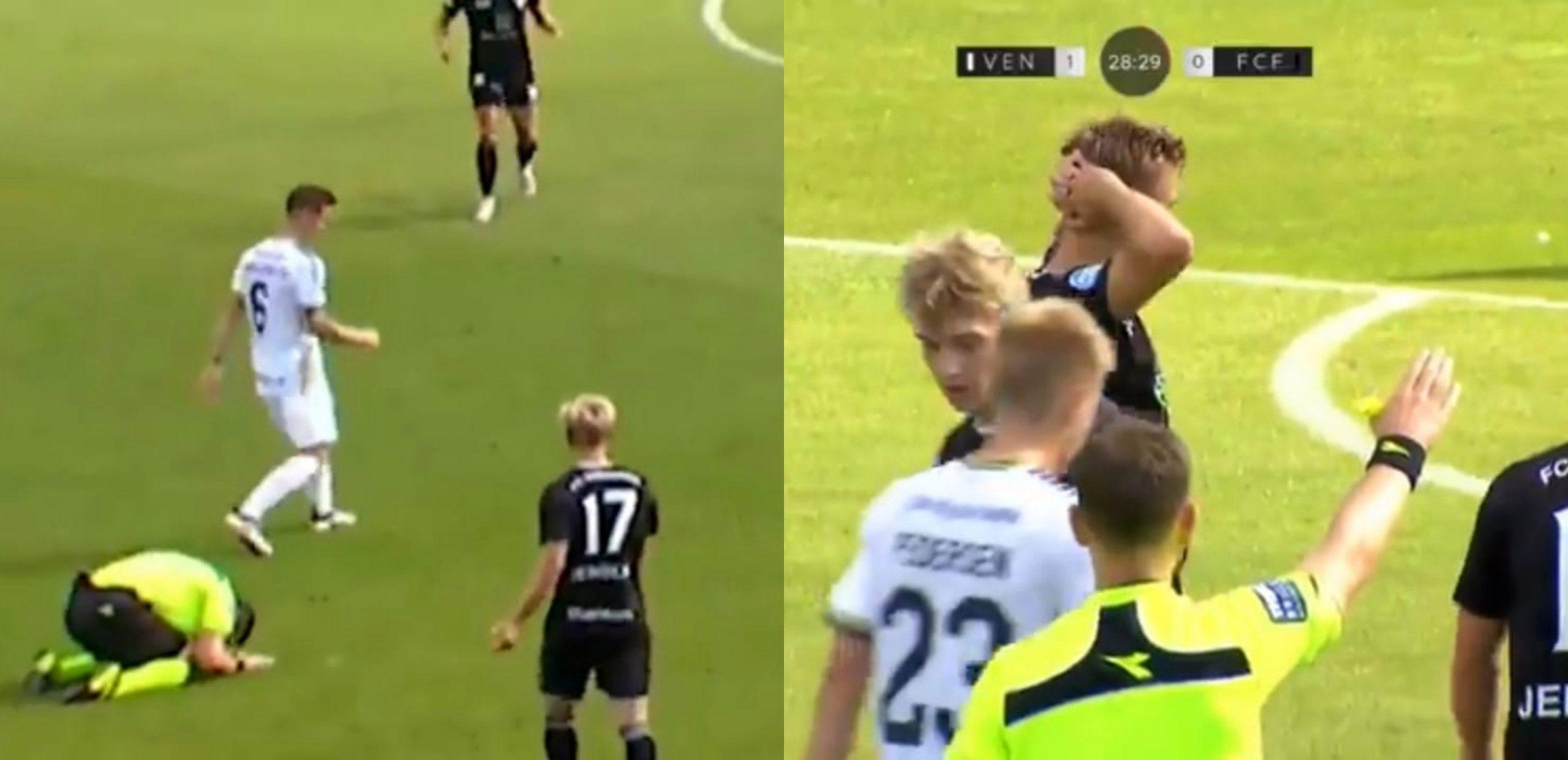 La insólita reacción de un árbitro danés para disculparse por no darle más ventaja a la ley - Prensa Libre