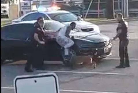 El contundente video que muestra como la policía usó un perro para agredir a una persona durante su arresto - Prensa Libre