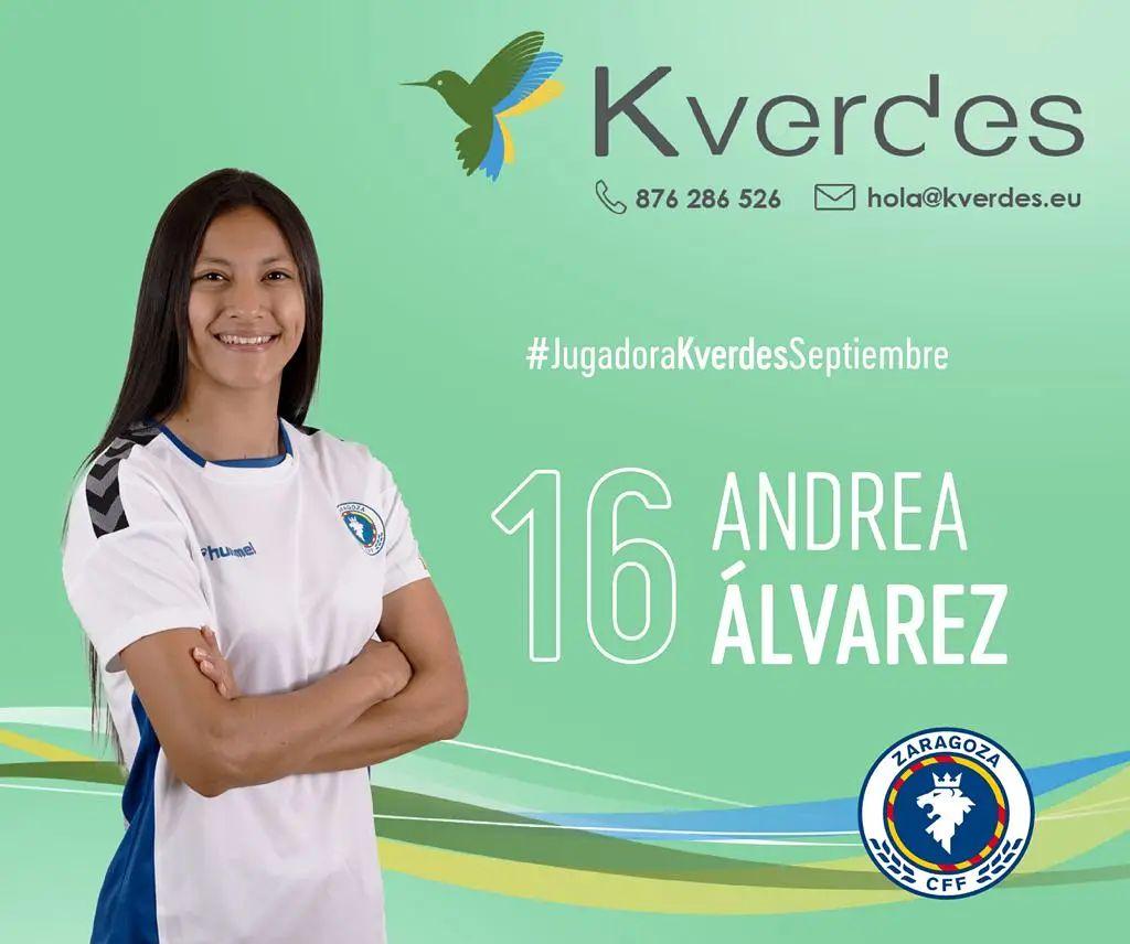 """En Zaragoza CFF, eligen a Andrea """"la Joya"""" Álvarez como jugadora de septiembre - Prensa Libre"""