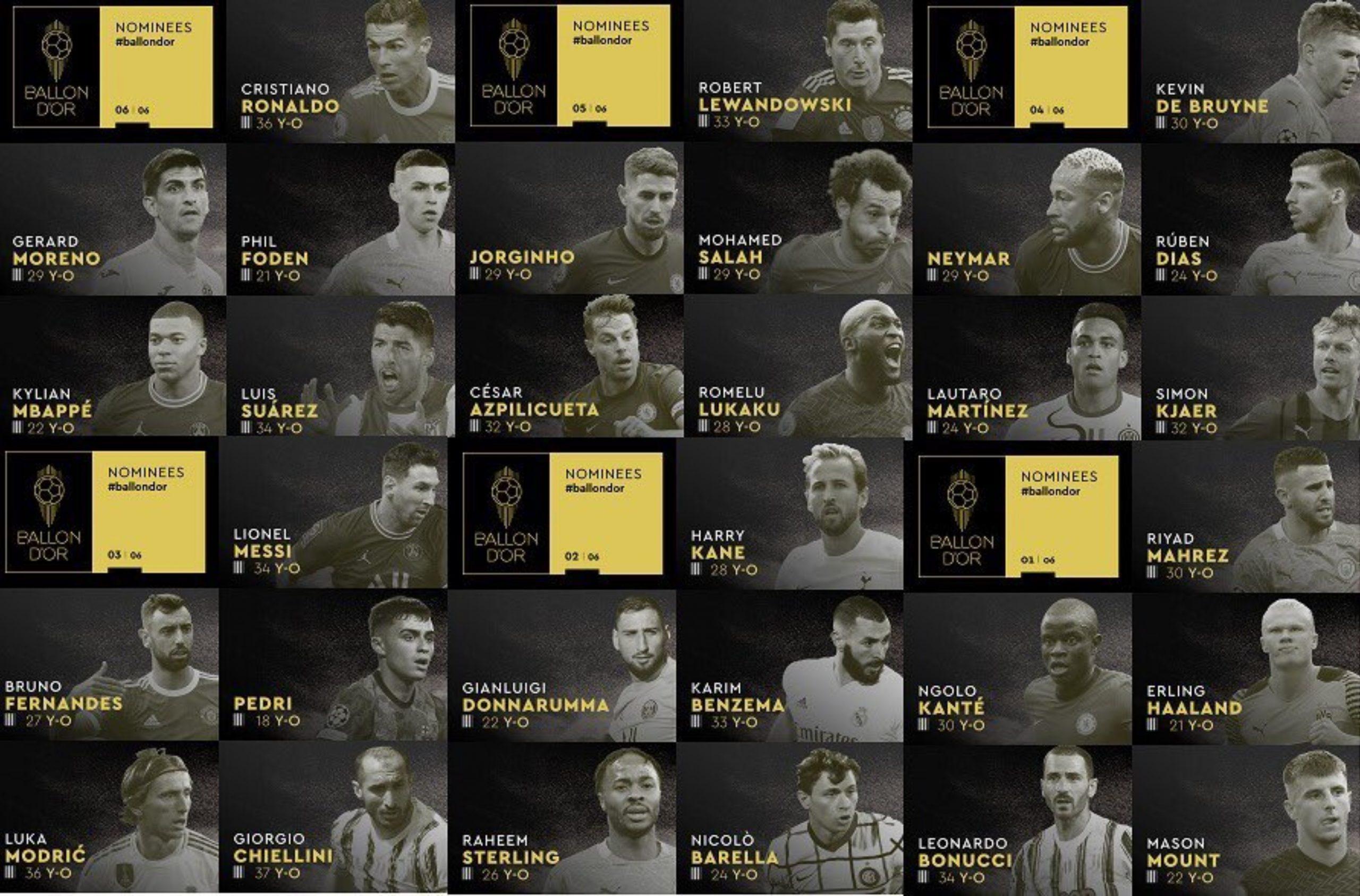 Estos son los nominados al Balón de Oro 2021;  Messi, Cristiano Ronaldo, Lewandowski, Benzema, Mbappé y Haaland están en la lista